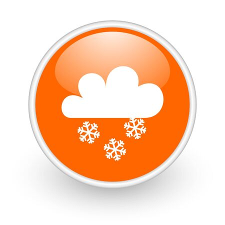 weather forecast orange circle glossy web icon on white background  photo