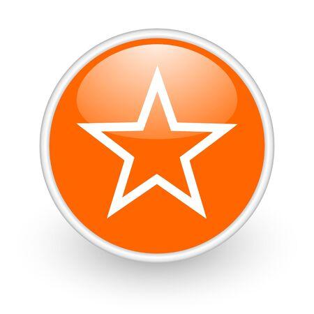 star orange circle glossy web icon on white background Stock Photo - 17761286