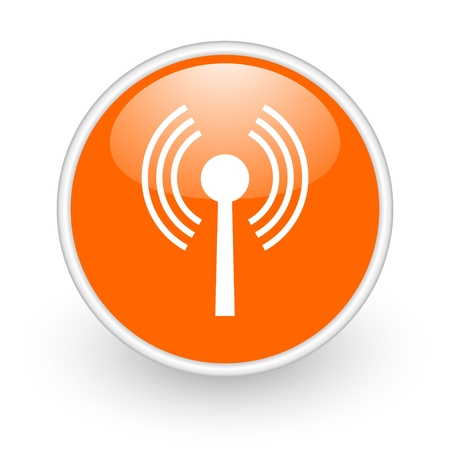 wifi orange circle glossy web icon on white background  photo