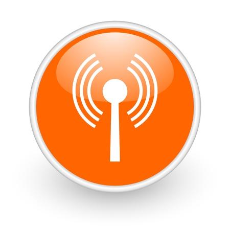 wifi orange circle glossy web icon on white background Stock Photo - 17761354