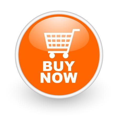 buy now orange circle glossy web icon on white background Stock Photo - 17761335