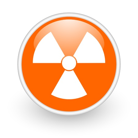 radiation orange circle glossy web icon on white background