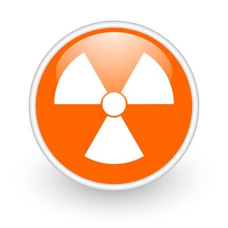 radiation orange circle glossy web icon on white background Stock Photo - 17761132