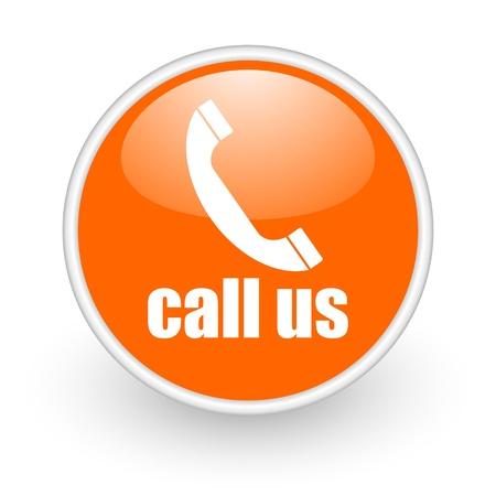 call us: call us orange circle glossy web icon on white background