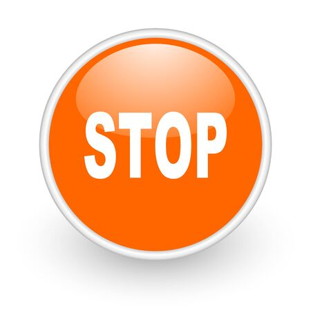 stop orange circle glossy web icon on white background  photo