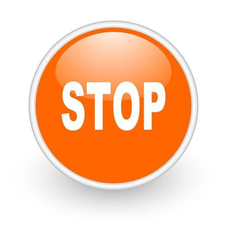 stop orange circle glossy web icon on white background Stock Photo - 17761193