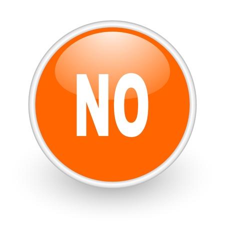 no orange circle glossy web icon on white background Stock Photo - 17761125
