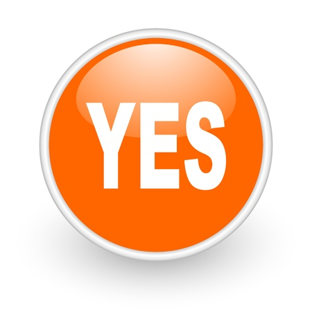 approve icon: yes orange circle glossy web icon on white background