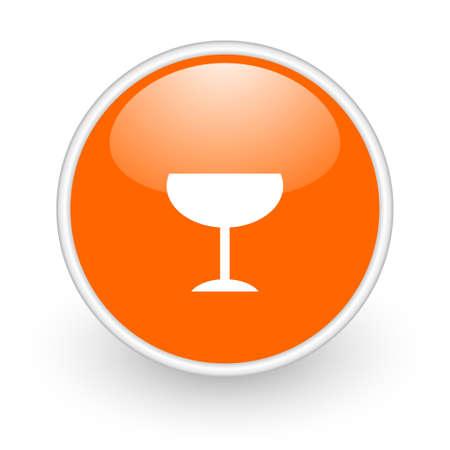 champain: glass orange circle glossy web icon on white background