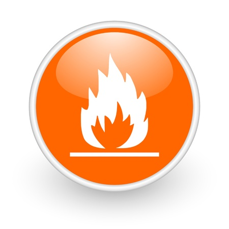 flames orange circle glossy web icon on white background  photo