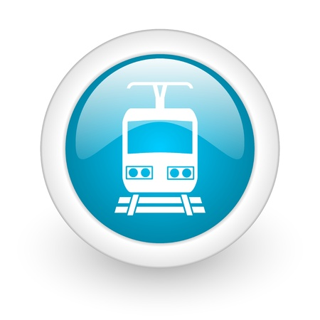 train blue circle glossy web icon on white background  photo