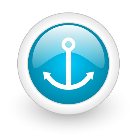 anchor blue circle glossy web icon on white background  photo