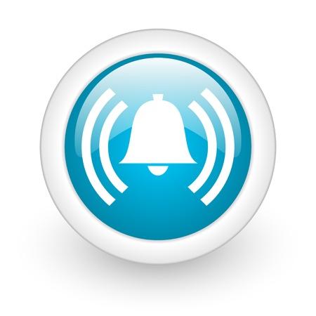 alarm błyszczący niebieski okrąg sieci web ikonę na białym tle Zdjęcie Seryjne
