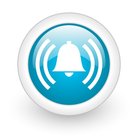 risks button: alarm blue circle glossy web icon on white background