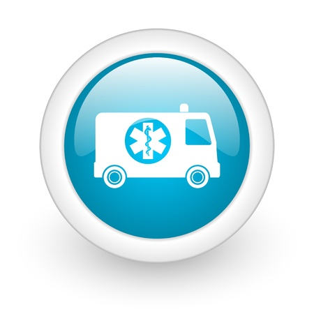 ambulance blue circle glossy web icon on white background  photo