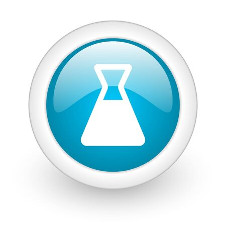 computer scientist: chemistry blue circle glossy web icon on white background