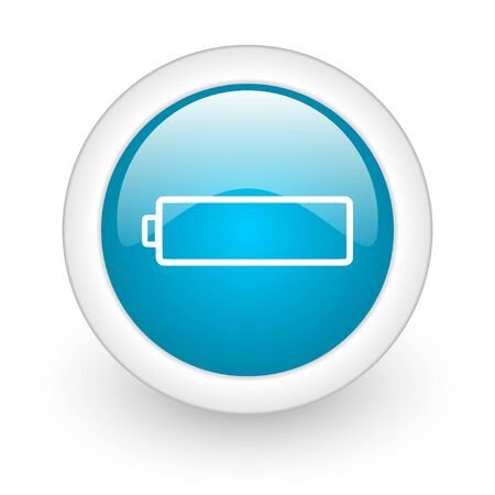 accuse: battery blue circle glossy web icon on white background  Stock Photo