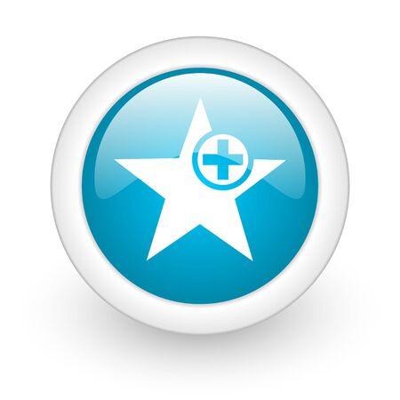 star blue circle glossy web icon on white background Stock Photo - 17770434