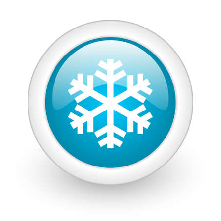 snowflake blue circle glossy web icon on white background  photo