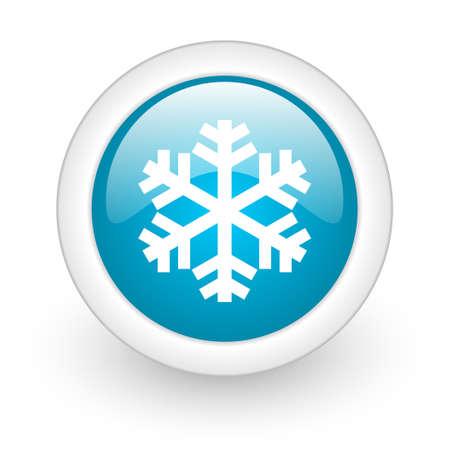 snowflake blue circle glossy web icon on white background Stock Photo - 17770593