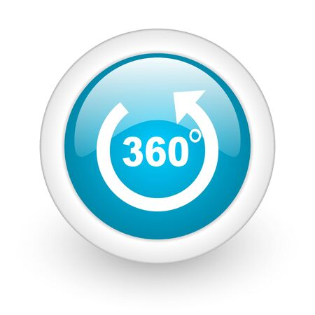 360 degrees panorama blue circle glossy web icon on white background  photo