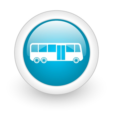 bus blue circle glossy web icon on white background  photo