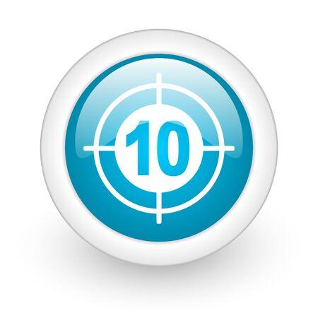 target blue circle glossy web icon on white background Stock Photo - 17770601