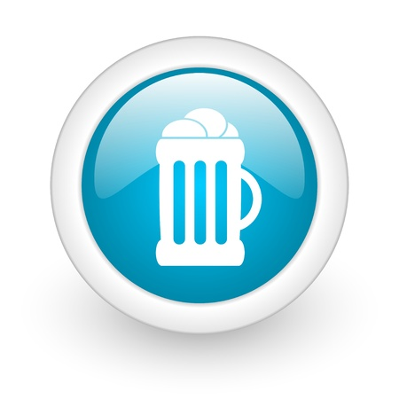 beer blue circle glossy web icon on white background