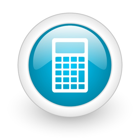 calculator blue circle glossy web icon on white background