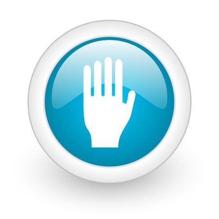 stop blue circle glossy web icon on white background Stock Photo - 17770294