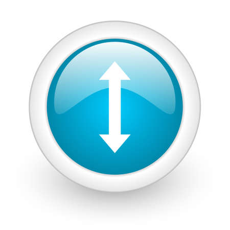 sterring: arrows blue circle glossy web icon on white background  Stock Photo