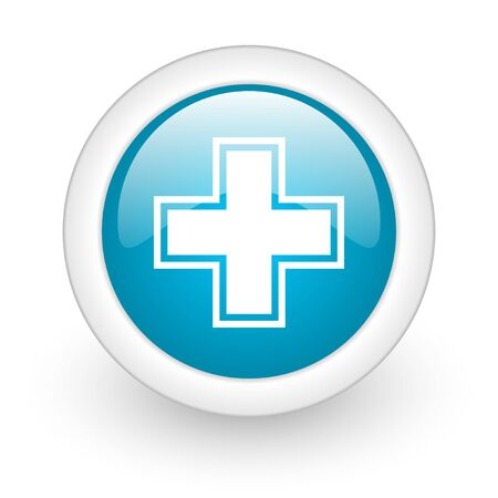 pharmacy blue circle glossy web icon on white background  photo