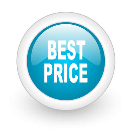 best price blue circle glossy web icon on white background