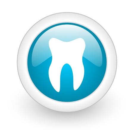 tooth blue circle glossy web icon on white background  photo