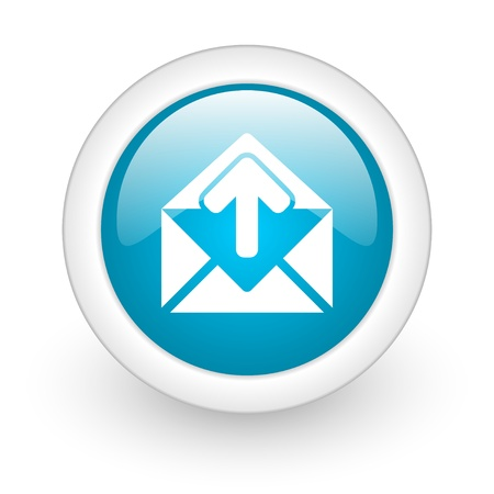 mail blue circle glossy web icon on white background  photo