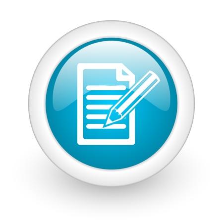 contratos: suscribirse icono azul brillante c�rculo web sobre fondo blanco