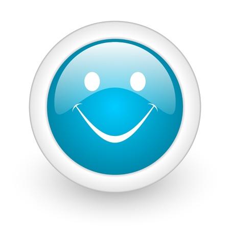 smile blue circle glossy web icon on white background Stock Photo - 17770450