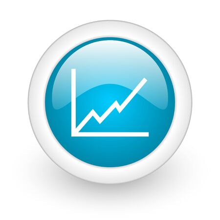 chart blue circle glossy web icon on white background