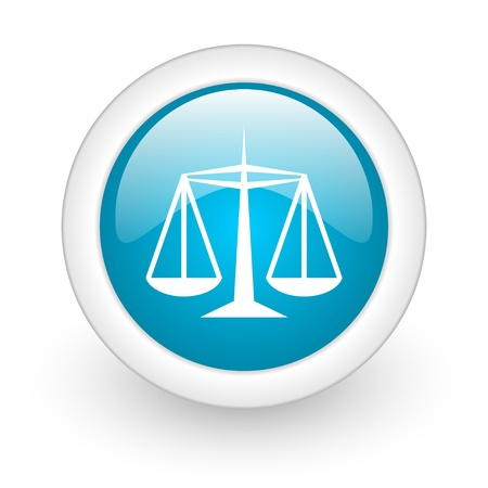 justice blue circle glossy web icon on white background  photo