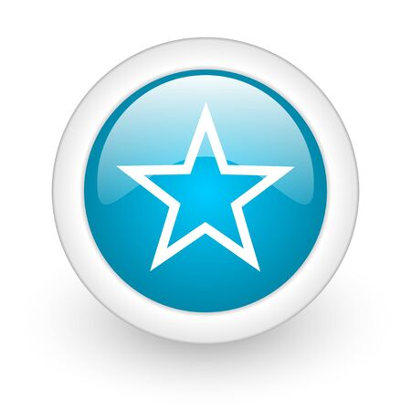 star blue circle glossy web icon on white background Stock Photo - 17770530