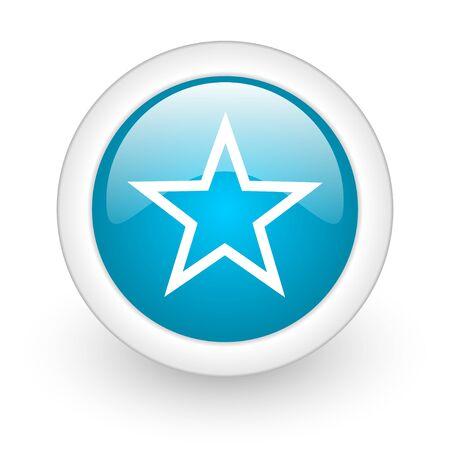 star blue circle glossy web icon on white background Stock Photo - 17770530