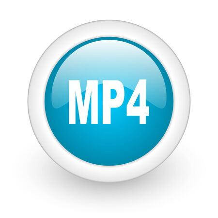mp4: mp4 blue circle glossy web icon on white background