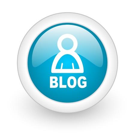 Blog blauen Kreis glossy Web-Symbol auf weißem Hintergrund