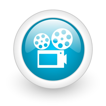 cinema blue circle glossy web icon on white background  photo