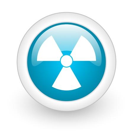 radiation blue circle glossy web icon on white background Stock Photo - 17770299