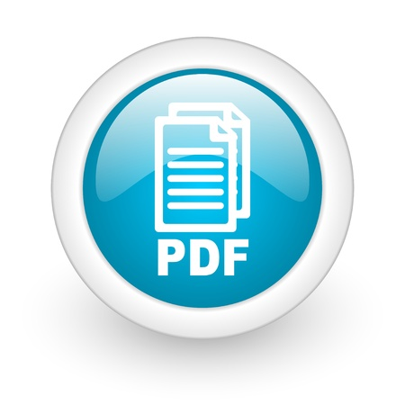 pdf blauwe cirkel glossy web pictogram op witte achtergrond
