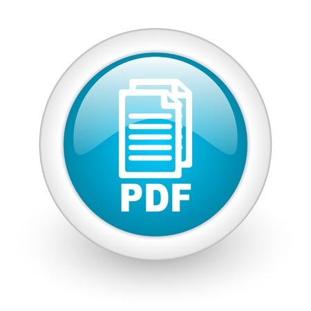 pdf niebieski okrąg błyszczący ikona internetowych na białym tle