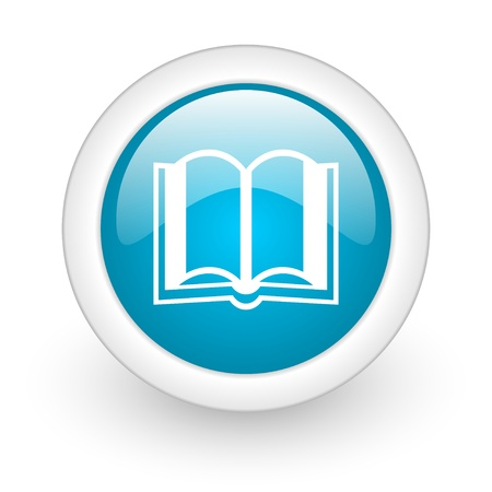 book blue circle glossy web icon on white background  photo