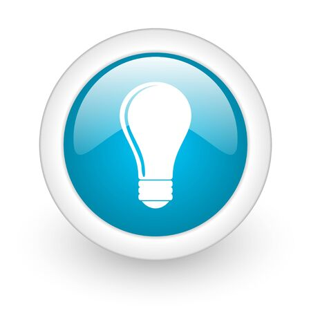 light bulb blue circle glossy web icon on white background  photo