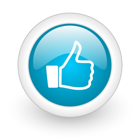 thumb up blue circle glossy web icon on white background